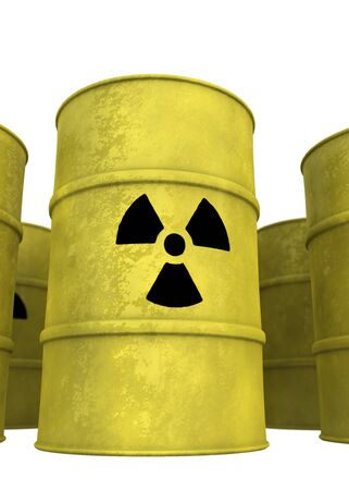 nuclear waste: view of nuclear waste barrel from below Stock Photo