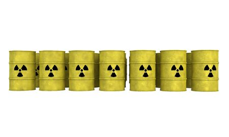 nuclear waste: rows of yellow barrel for nuclear waste