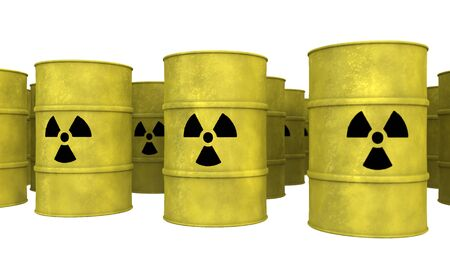 rows of yellow nuclear waste barrel