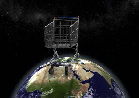 view of huge shopping cart on earth, political caricature of economy and global buyout