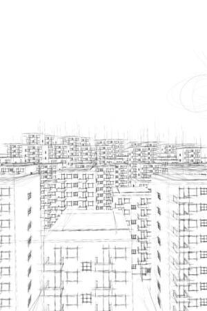 ghetto: illustration of ghetto and sun in white