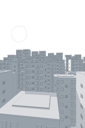 ghetto: illustration of blue ghetto in the evening