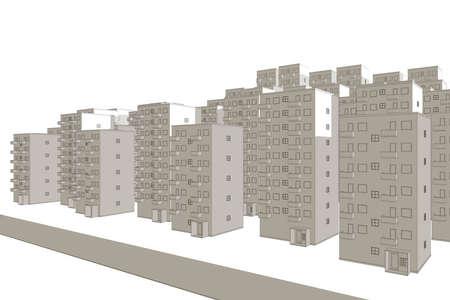 illustration of street against housing area in brown illustration
