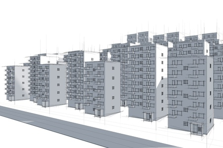 sketch of street against housing area in blue Stock Photo - 9797312