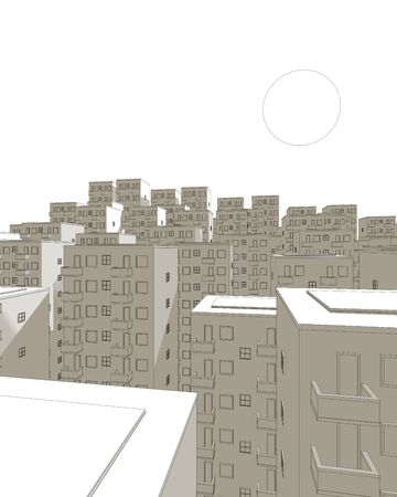ghetto: illustration of brown ghetto in the evening