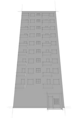 illustration of apartmentblock in gray illustration