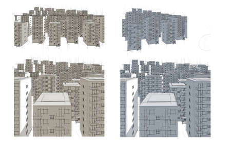 different illustrations of big housing estate in blue and brown Stock Illustration - 9797325