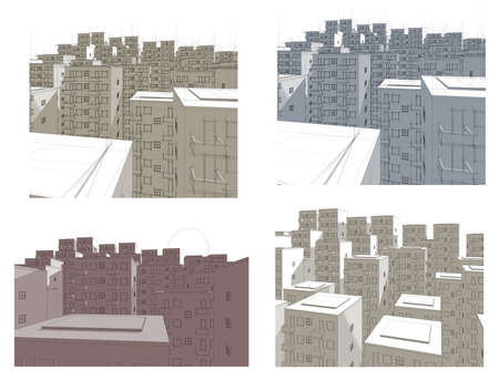 different illustrations of housing area in blue, red and brown Stock Illustration - 9797326