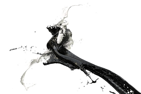 liquid material: two splashes of wall color in black and white Stock Photo