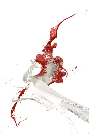 two splashes of wall color in red and white Stock Photo - 9925050