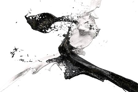 two splashes of wall color in black and white Standard-Bild