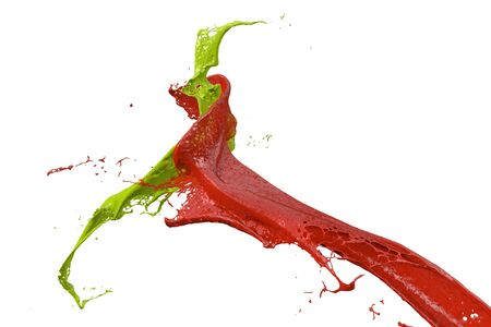 splashing wall color in red and green Stock Photo
