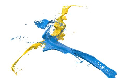 wet splashing paint in yellow and blue Stock Photo