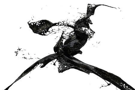 two black splashes colliding 写真素材
