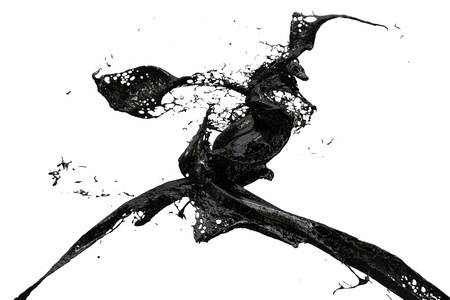 liquid material: two black splashes colliding Stock Photo