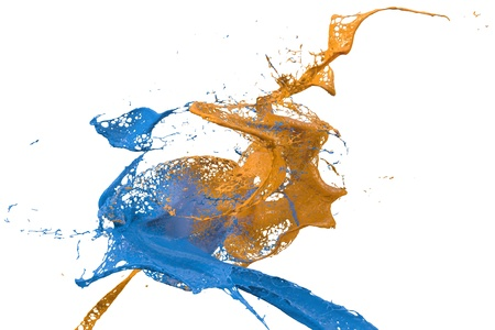 two splashes of wall color in blue and yellow