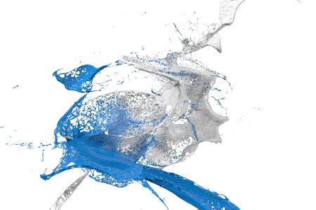 two splashes colliding in blue and white