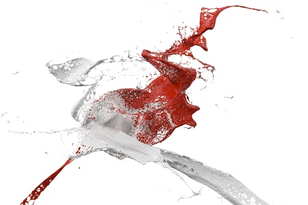 splattered: two splashes of wall color in red and white