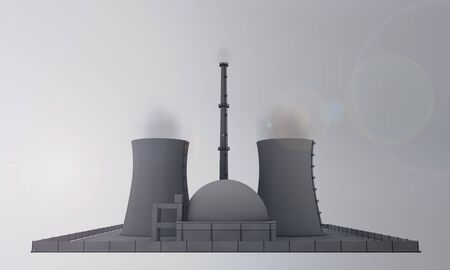 industrial plant: illustration of nuclear power plant from the front