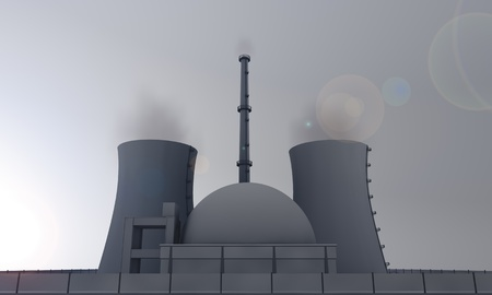 nuclear power station: illustration of nuclear power plant in the evening