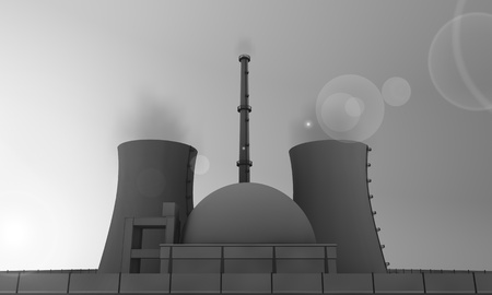 illustration of nuclear power plant in gray illustration