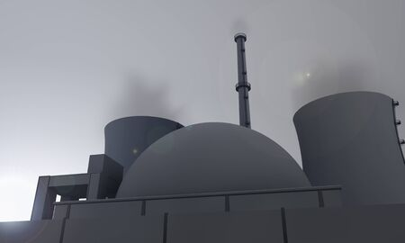 illustration of nuclear power plant in blue