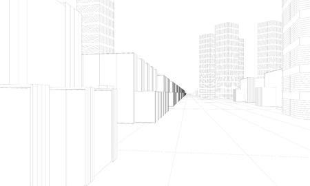 illustration of modern city 写真素材