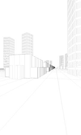 illustration of big modern city