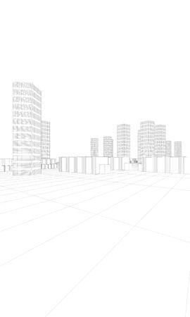 illustration of cityscape in white Stock Illustration - 10216097