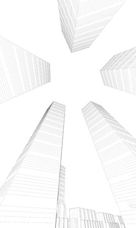 illustration of skyscapers from below Stock Illustration - 10216123
