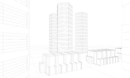 illustration of modern architecture Stock Photo