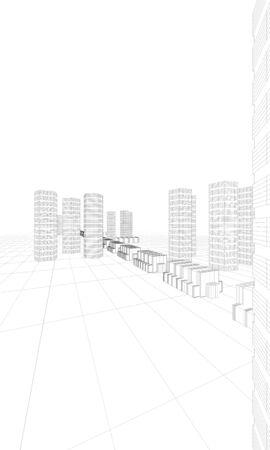 illustration of huge city buildings Stock Illustration - 10216112