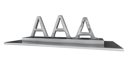 downgrade: high quality rendering of melting triple a rating Stock Photo