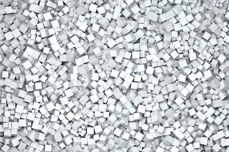 high quality rendering of one thousand cubes in white