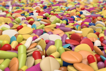 close-up view of multicolored drugs and pills