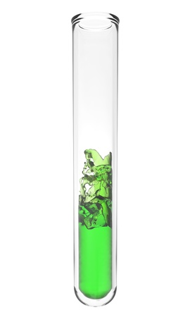 high quality rendering of scientific test tube with wavy green liquid  写真素材