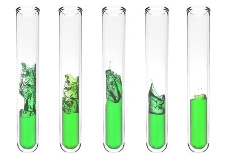 high quality rendering of scientific test tube with wavy green liquid inside Standard-Bild