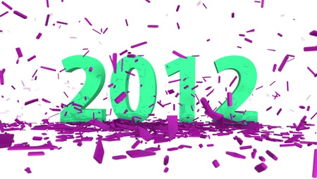 high quality rendering of green date 2012 with abstract pink confetti photo