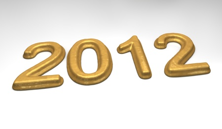 high quality rendering of melting date 2012 in gold