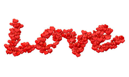lettering love written with hearts on white background photo