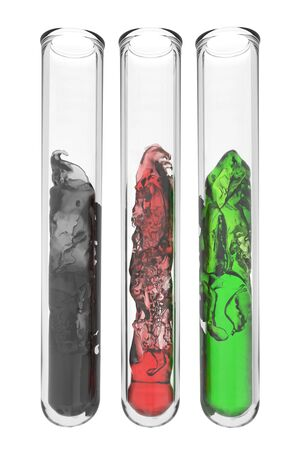 testtubes with abstract liquids in afghan national colors on white background photo