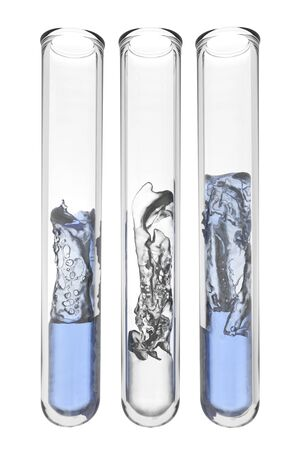 testtubes with abstract liquids in greek national colors Standard-Bild