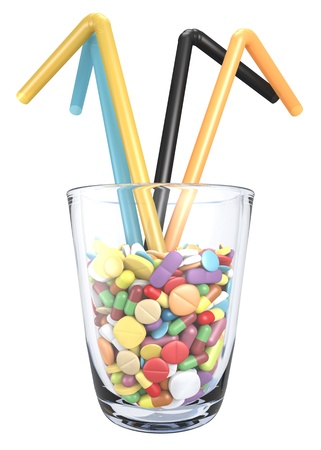 close-up view of different colorful drugs in glass with straws Stock Photo