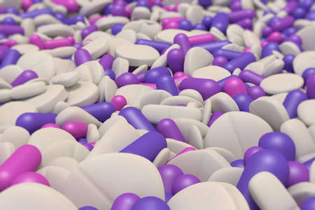 overdose: close-up view of many different colorful drugs in purple and white
