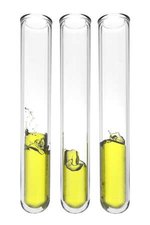 three testtubes with wavy yellow liquids on white background Stock Photo
