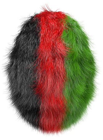 afghan flag: isolated abstract furry egg  in afghan national colors