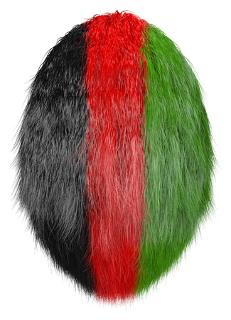 isolated hairy egg  in afghan national colors photo