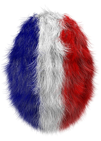 isolated furry easter egg  in french national colors photo