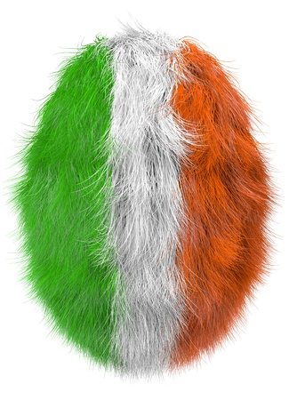 irish easter: isolated furry egg in irish national color