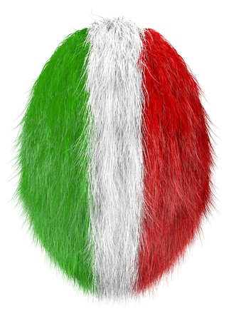 isolated hairy easter egg in italian national color photo